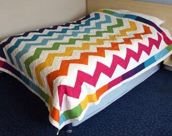 SALE Rainbow Chevrons Queen / King Patchwork Quilt