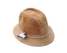 Vintage Mens Fedora, Tan Suede, Travel Hat, Ptarmigan or Grouse Foot Brooch, Trav'ler by Country Gentleman