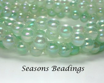 100 8mm Sea Foam Glass Beads with AB Coating