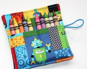 Crayon Roll, Robots, Crayon Rollup, holds up to 10 Crayons,  Birthday Party Favors