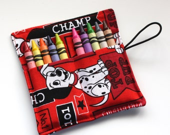 Dalmatians Crayon Rolls, made from 101 Dalmatians fabric, holds up to 10 Crayons, Dalmatians Birthday Party Favors