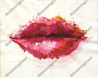 Paper napkins, decoupage napkins, paper, napkins, decoupage, Valentine, lips, kiss, red lips, painting, kisses, decor, Valentine decor,