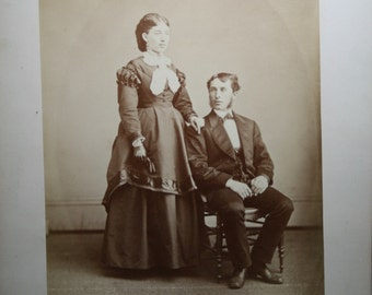 Antique Photoghaph - Husband and Wife - Sepia