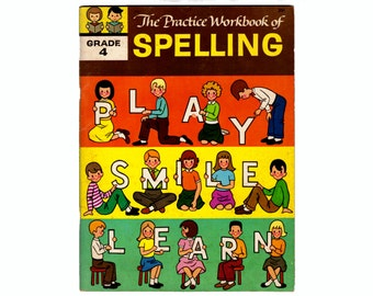 Practice Workbook of Spelling Grade 4 Vintage 1960s Kids Book, Treasure Books, Unused Spelling Workbook