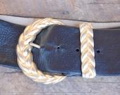 vintage ANNE KLEIN II for calderon wide leather trim belt size L