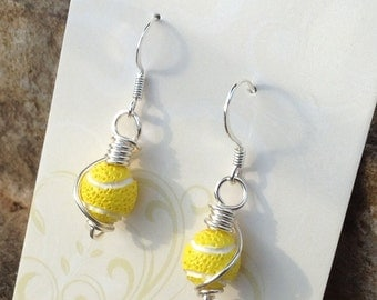 Tennis Earrings, yellow tennis ball earrings