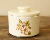 RESERVED For DAVE - Retro Stoneware Sugar Bowl with Lid Vintage Covered Dish USA Dogwood
