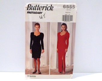 Sweetheart Neck Evening Gown Cocktail Dress 1990s Butterick 6555 Easy Vintage Sewing Pattern FF uncut Size 18 20 22 Fitted Dress FreeUS Ship