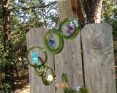 GLASS WINDCHIME  from MIXED antique bottles, metaphysical wind chime, semi-precious stones, 7 Chakra series, garden decor, wind chimes