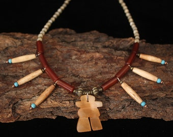 Indian Tribal Necklace, Inukshuk Necklace, Shaman Necklace, Native American Jewelry, American Indian Necklace, Shaman Art, Ethnic Jewelry