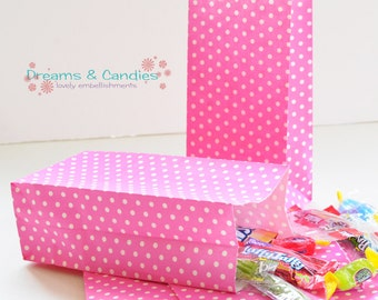 "25 Patterned Mini Pinks Dots Paper Bags with Gusset Size 3-5/8"" X 2-1/4"" X 7""  -Candy Bags -Birthday Paper Bags -Blue Paper bags -Favor Bags"