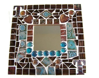 Steampunk Time and Love Mosaic Wall Mirror
