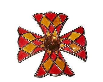 Weiss Maltese Cross Brooch Pin Orange Yellow Enamel & Citrine Cabochon Stone Gold Metal 2 1/2 in Vintage