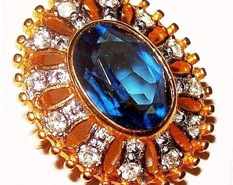Blue Rhinestone Slider Pendant Gold & Stippled Silver Metal Oval Shaped Vintage
