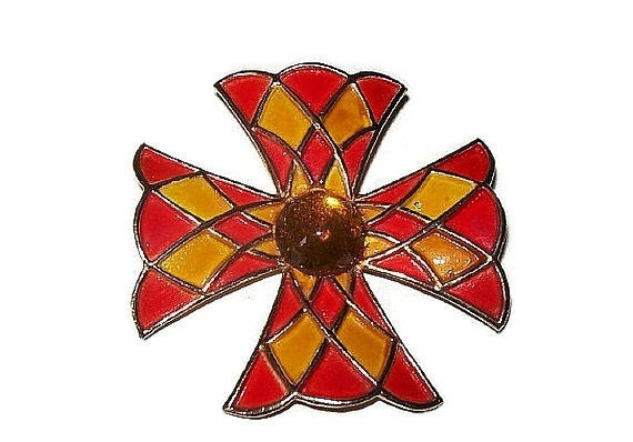 Weiss Maltese Cross Brooch Pin Orange Yellow Enamel & Citrine Cabochon ...