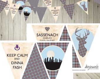 Outlander Download Bunting, Garland, Outlander party, plaid banner, outlander printable, scotland bunting, tartan bunting, printable bunting
