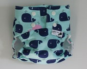 Whale of a Tale PUL Lined Water Resistant Cloth Diaper Cover Available in Small, Medium, and Large