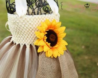 Sunflower and Burlap Tutu Dress- Flower girl-VIntage