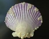 Lavender Seashell Hair Clip