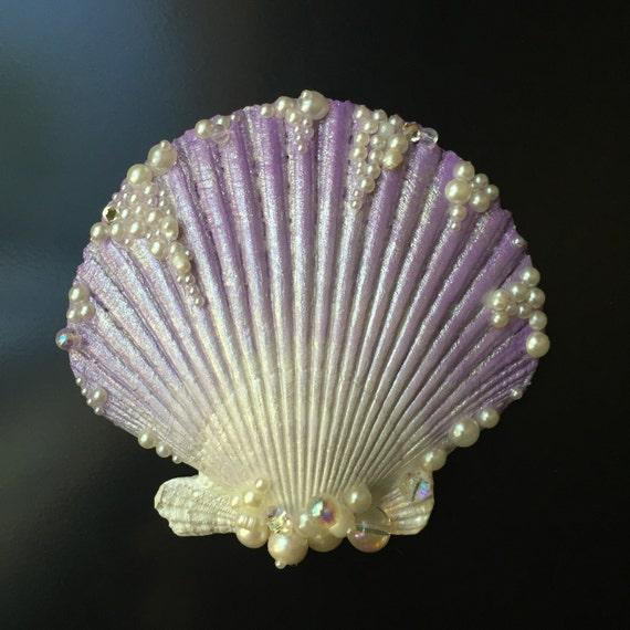 Lavender seashell hair clip for Seashells for hair