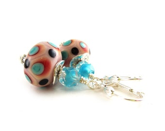 Pink and Aqua Lampwork Glass Earrings - Feminine Earrings - Pink Earrings - Polka Dot Earrings - Feminine Earrings - SRAJD 3955