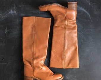 Vintage Frye 70's Tall Tan Campus riding Boots 7B