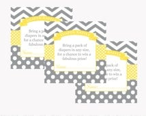 Yellow Diaper Raffle Card Instant Download Baby Shower Game Printable Invitation Insert Diaper Tickets