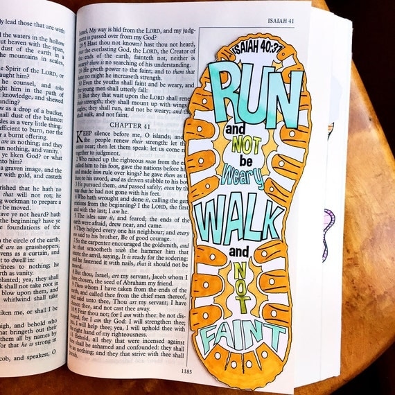 Bible Journaling Verse Art Print Great For Faith Journals Journal Run Walk Shoe Faint Not Isaiah 4031