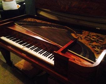 Fabulous Antique Chickering Mahogany Square Grand Piano, 1837, Set Design, Home Decor,