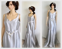 25%OFF Unique Wedding Dress, Silver Evening Gown. Platinum Bridal Dress, Fit n Flare Silk Prom Dress Simple Elegant Classic, Size 6 Medium