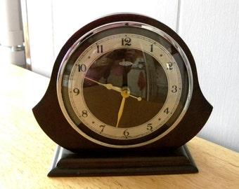 Vintage Metamec Clock - Dark Wood Battery Clock - Mantel Shelf 1930's