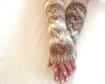 Cappuccino.Fingerless  Gloves.Knit.Long.Arm Warmers.Brown/Beige.Winter/Fall.Cable.Fingerless  Gloves.Cappuccino.