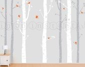 Birch Tree Decal with Flying Birds in 2 colors, Birch Trees Wall Vinyl for Nursery, Living Room, Kids or Childrens Room 120