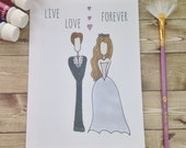 Live, Love Forever Greetings Card. Perfect card for weddings - men, women, children. Inspirational, uplifting, whimsical art card. Soulful.