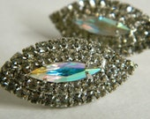 Vintage NOS Marquise Shape Clear Rhinestone Stud Earrings with AB Finish- Elegant Regency Glamour Deadstock Post Back Beau Geste