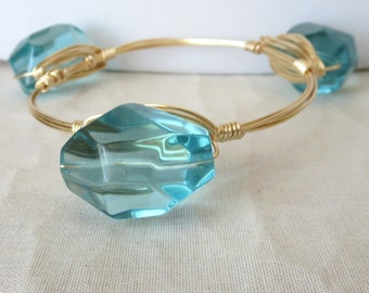 "Huge Blue Quartz Nugget Bangle Bracelet ""Bourbon and Bowties"" Inspired"