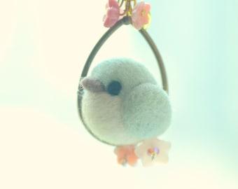 Needle felt bird pendant necklace, soft sculpture wool bird jewelry, green bird on flower hoop pendant, whimsical jewelry, gift under 25