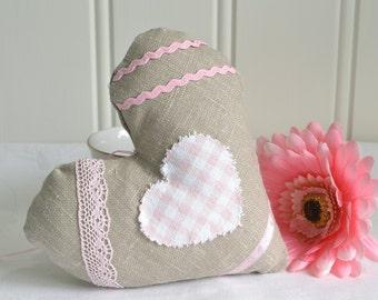 Fabric heart, burlap heart, brown and pink , handmade Swedish, shabby cottage chic valentine home decor,
