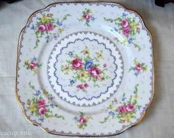 Royal Albert Petit Point Square Dessert Plate, English Bone China, Replacement China, ca. 1940