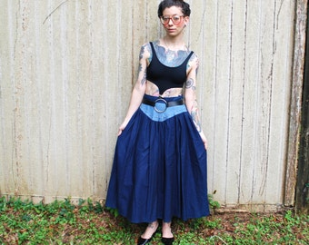 Two-toned Denim Maxi Skirt High Waist with studs small / medium