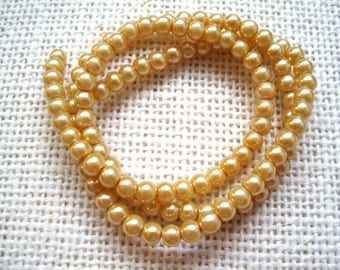 """4mm Round Glass Pearls - 15"""" Strand - Antique Gold - Beads for Jewelry Making - Jewelry Supplies - Gold Pearls"""