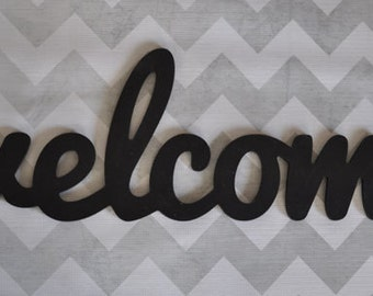 Unpainted welcome wood sign