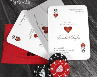 Save The Dates, Vegas Wedding, Casino Wedding, Vegas Invitations, Playing Cards