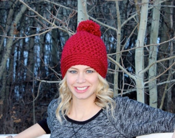 CROCHET PATTERN- The COOPER chunky pom pom toque hat for baby, toddler, child, teen, adult sizes - easy - beanie