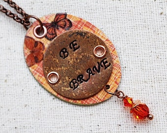 Brave Mixed Media Necklace, Mixed Media Jewelry, Pendant Necklace, Orange Bead Necklace, Bohemian Beaded Jewelry, Long Necklace