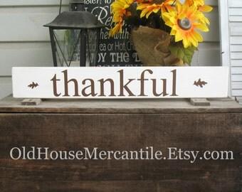 Thankful -- fall autumn thanksgiving praise  -- Hand Painted Wooden Typography Subway Art Sign Shelf Sitter