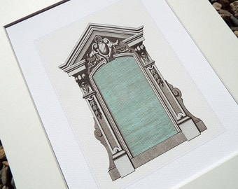 French Architectural Detail of Zinc Doorway 3 Archival Print on Heavy Watercolor Paper