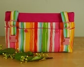 SUMMER STRIPES on SALE!!!  Powerchair - Walker Bag: Bright Striped bag with hot pink lining.