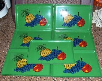Set of 7 Vintage Green Lacquerware Trays with Fruit Design...Made in Japan...Maison International ....Mid Century Item..