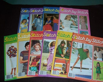 Collection of 10 Vintage 1970's and 1980's Stitch by Stitch Magazines..Crochet and Knitting and Needlework Books...Neat Mid Century Patterns